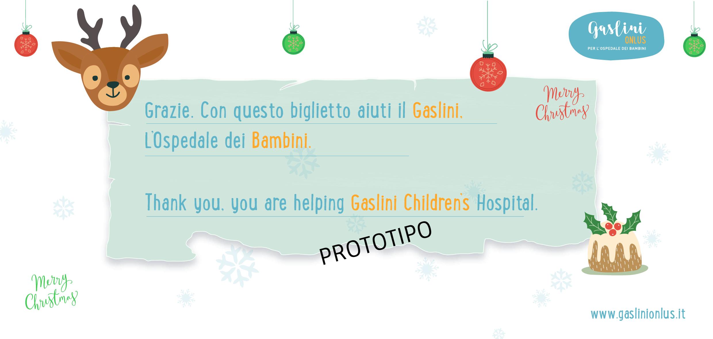 Biglietto di Natale solidale Gaslini Onlus renna